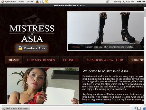 Mistress Of Asia New Account